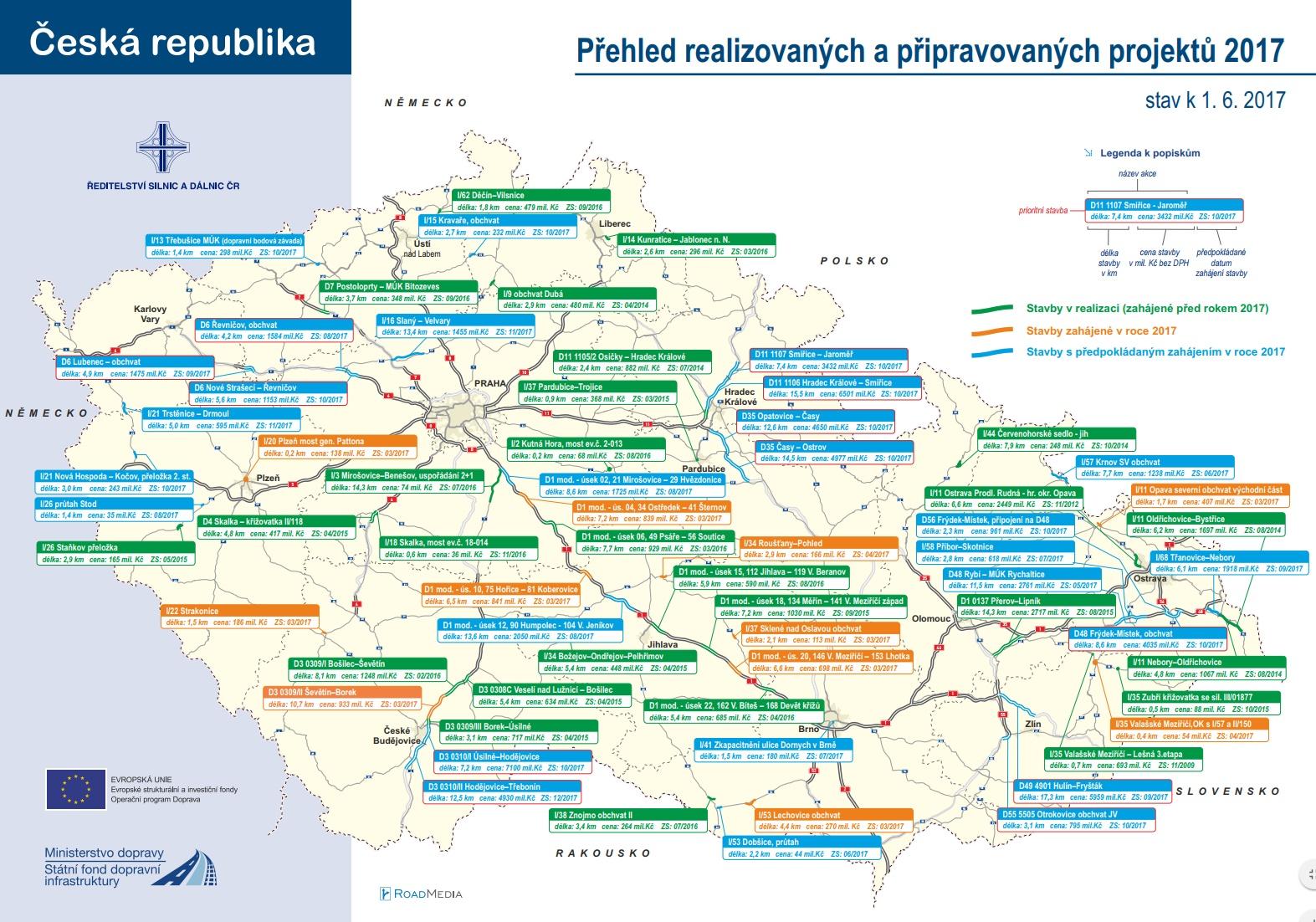 Přehled realizovaných a připravovaných oprav silnic a dálnic
