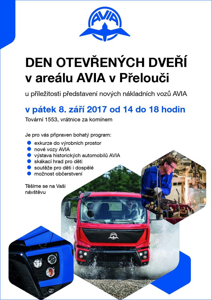 leták Den otevřených dveří u příležitosti představení nových vozů AVIA