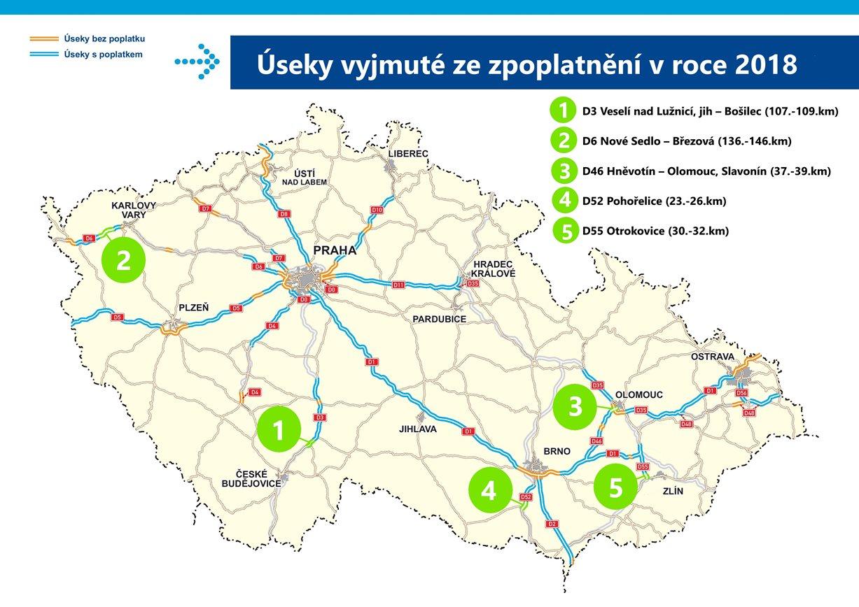 Dalších 19 kilometrů dálnic vedoucích poblíž měst bude od příštího roku bez poplatku
