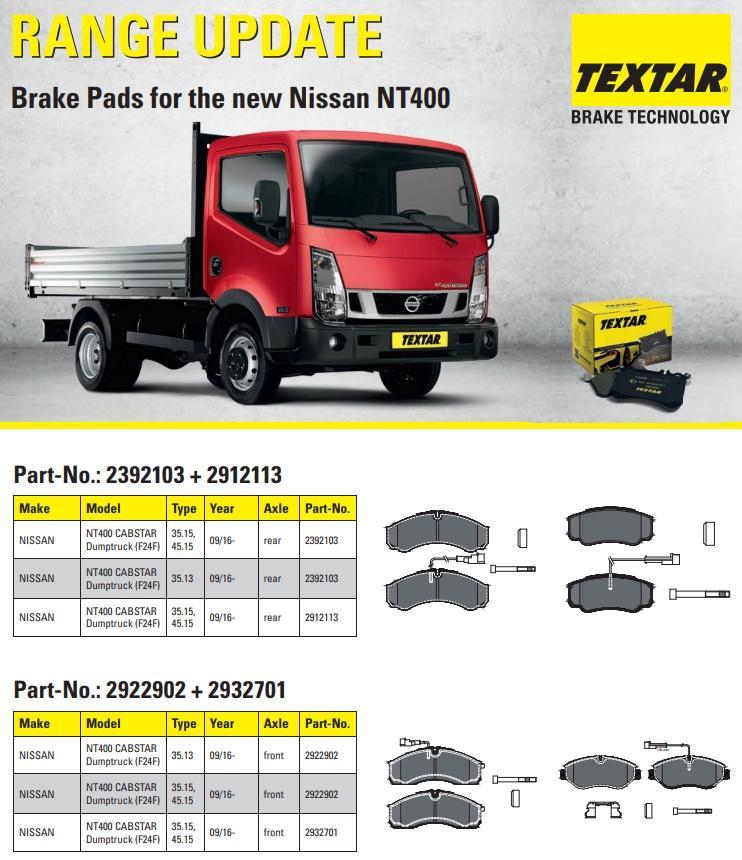 Brzdové destičky Textar pro nový Nissan NT400