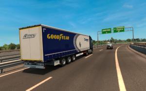 Virtuální tahač s nákladem pneumatiky pro závody v Misanu