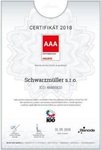 Ocenění Czech Stability Award 2018 od Schwarzmüller
