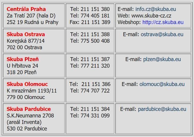 Kontakty firmy SKUBA Czech s.r.o.
