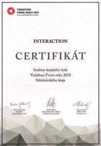 Certifikát od Interaction Firma roku 2018