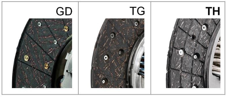 Srovnání konstrukce lamel v následujících technologiích: GD, TG, TH. Na fotografii vpravo je Valeem patentované drážkování třecího materiálu použitého u lamely TH.