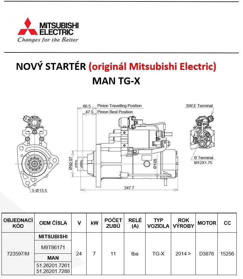 MITSUBISHI ELECTRIC má nově startér na MAN TG-X