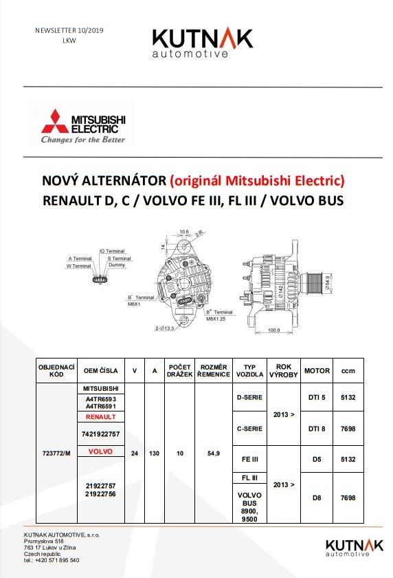 MITSUBISHI ELECTRIC má nově alternátor na RENAULT / VOLVO