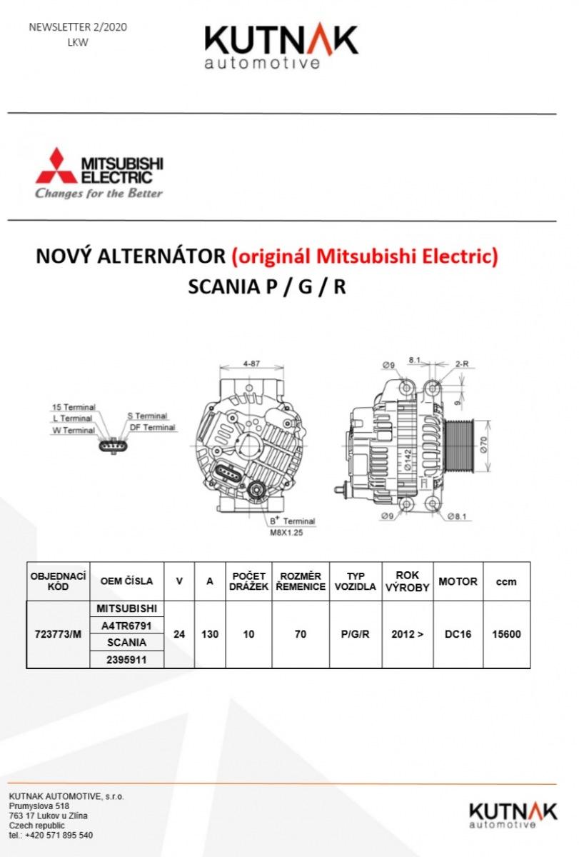 MITSUBISHI ELECTRIC má nově alternátor na SCANIA P/G/R