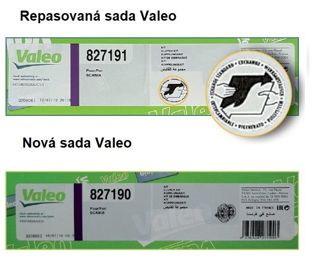 Označení na repasované a nové sadě Valeo