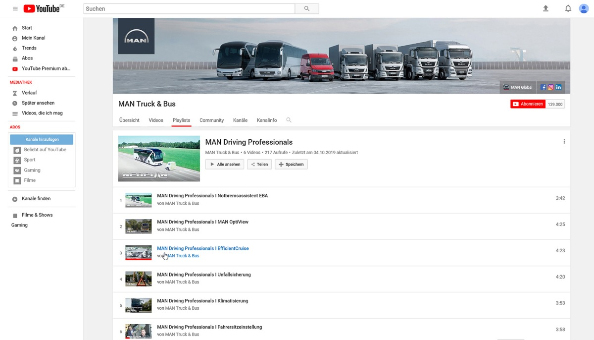 MAN Driving Professionals na youtube