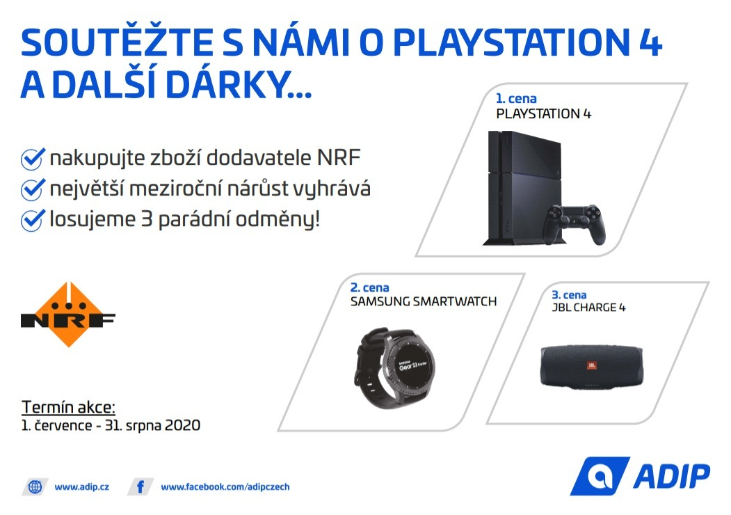 ADIP: Soutěž o Playstation 4 a další dárky při nákupu produktů NRF