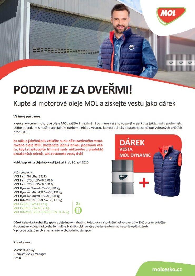 ADIP: Kupte si motorový olej MOL a získejte vestu jako dárek