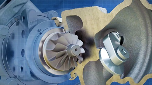 Znázornění obtokové klapky, která si při určitém tlaku otevírá a reguluje tak přísun výfukových plynů.