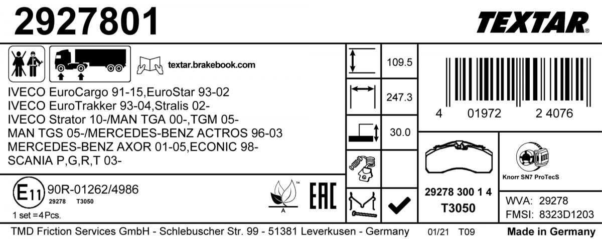 Nové štítky na brzdových destičkách Textar