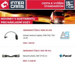 Novinky Inter Cars pro truck, bus, agro