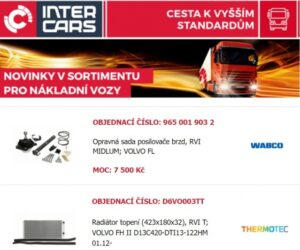 Inter Cars novinky pro nákladní vozy a autobusy